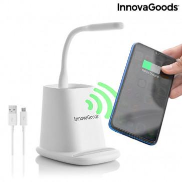 5-in-1 draadloze oplader met organiser-standaard en USB LED-lamp DesKing InnovaGoods