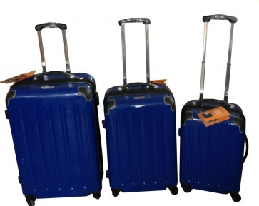 3 delige trolley set blauw