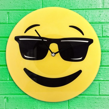 Cool Emoticon Wandklok, Wandklok, Emoticon, Cool, Smiley,