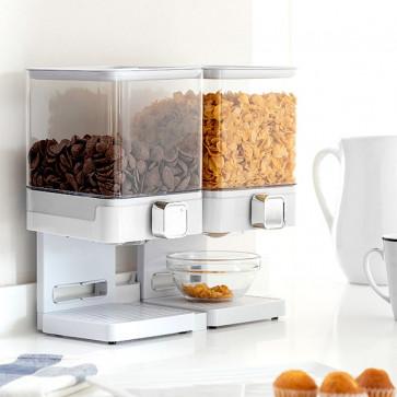 Dubbele ontbijtgranen dispenser met standaard