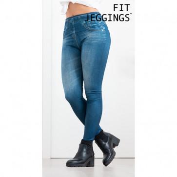 Fit Jeggings Jeans-Print Legging Blauw
