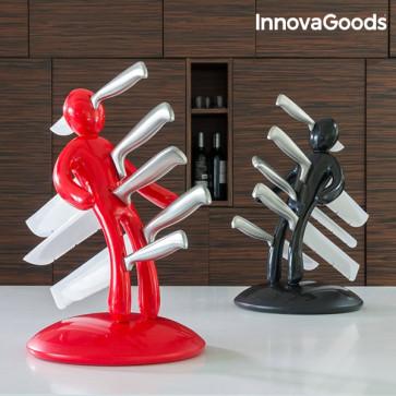 InnovaGoods Voodoo messenset met messenhouder zwart en rood