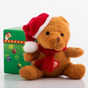 Pluche kerstbeertje met geluid in doosje