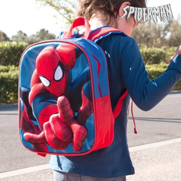 Spiderman tas, Spiderman schooltas, 3D Spiderman tas, Schooltas, Rugtas, Rugzak, Blauw, Rood