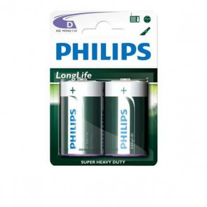 Philips Longlife 1,5v R20 2 stuks