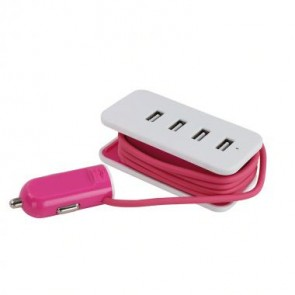 Auto oplader roze
