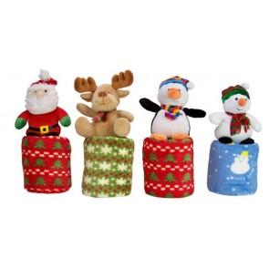 Pluche Kerstfiguur, kerstman, eland, pinguin, sneeuwpop