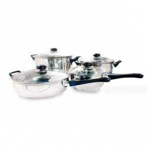 5 potten, 1 sauspan en 6 glazen deksels