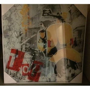 Schilderij: Scooter incl. glas geel 50 x 50 cm